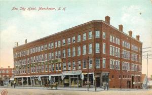 c1907 Postcard; New City Hotel & Exchange Co. Store, Manchester NH Hillsborough