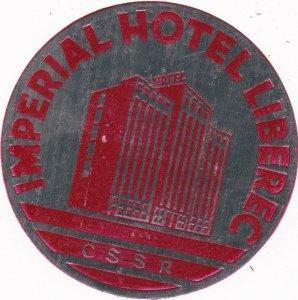 Russia CSSR Imperial Hotel Liberec Vintage Luggage Label lbl0315