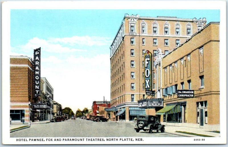 North Platte Ne Postcard Street Scene Fox Paramount Theatre Hotel Ee 1930s