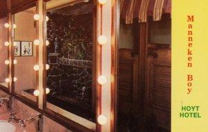 PORTLAND, Oregon, 1950-60s; Manneken Boy featured in the Men's Room, Hoyt Hotel