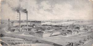 Hershey PA Smokestacks of Newly Expanded Chocolate Factory~Aerial View c1910