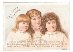 Victorian Trade Card Hoyts German Cologne Rubifoam for Teeth Lynn MA Frothingham