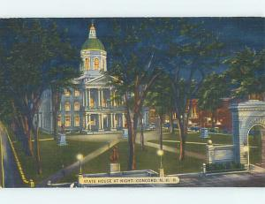 Unused Linen NIGHT VIEW OF STATE HOUSE Concord New Hampshire NH Q9373