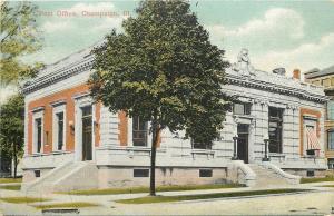 Champaign Illinois~Post Office~1910 Postcard