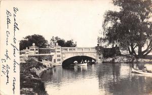 Detroit-Belle Isle Michigan~Rowboating u nder the Concrete Bridge 1906 RPPC