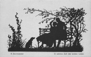 c1910 Romantic  Silhouette Dog Borrmeister Schone Zeit der Ersten Liebe Postcard