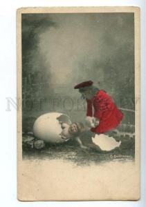 156304 Crying Baby in EGG as Chicken & Girl Vintage PHOTO