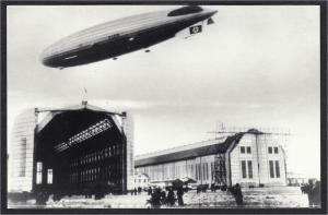 Hindenburg LZ129 Airship at Hangars Real Photo Repro Postcard 1990s #1