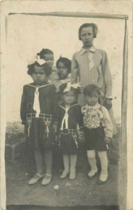Souvenir photo postcard Vladimiresti Galati family social history 1930
