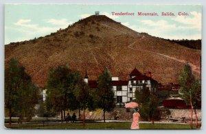 Salida Colorado~Tenderfoot Mountain~Lady with Sun Umbrella~Couple on Bench~c1910