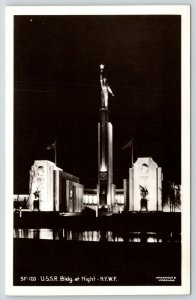 New York City~1939 World's Fair~USSR Russian Building at Night~Underwood RPPC