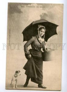 173524 FRANCE BREST woman JACK RUSSEL TERRIER Vintage postcard