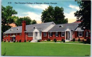 Athens, Georgia Postcard The Christian College of Georgia Linen c1940s Unused