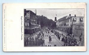 Postcard NY Peekskill 1898 Firemen's Parade from Eagle Hotel Fire Dept Band R69