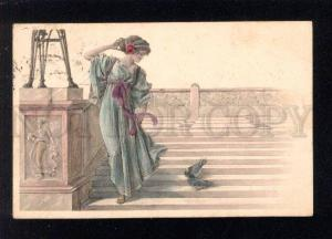 032631 Lovely Lady w/ PIGEONS. By AUER R. Vintage PC