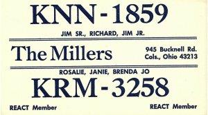 Vintage QSL Postcard  KNN 1859 Columbus, Ohio Jim SR  Richard  Jim Jr Miller -T-