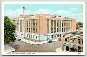 Canton Ohio~Timken Vocational School & Street Birdseye View~Shops on Right~1940s