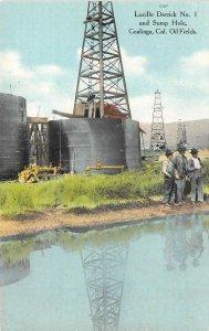 Lucille Derrick No 1 & Sump Hole Coalinga, CA Oil Fields c1910s Vintage Postcard