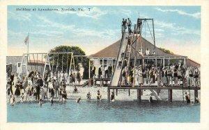 Bathing at Lynnhaven NORFOLK, VA Slide, Swimming Pool c1920s Vintage Postcard