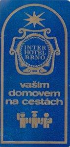 Czechoslovakia Brno InterHotel Vintage Luggage Label lbl0801