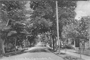 Carbondale Pennsylvania~Lincoln Ave~Houses~Horse Wagon by Street~1907 Rotograph