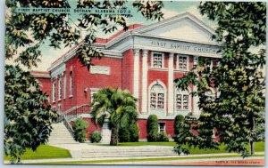 Dothan, Alabama Postcard FIRST BAPTIST CHURCH Building View Linen c1940s