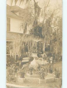 rppc Pre-1918 Architecture MANY POTTED PLANTS AT GARDEN POOL BY HOUSE AC7648