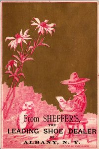 VICTORIAN TRADE CARD SHEFFERS BOOTS ALBANY NY LITTLE BOY ARTIST GOLD