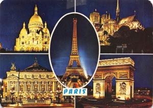 France Paris Sacre-Coeur Notre-Dame Opera Arc de Triomphe Tour Eiffel, nuit
