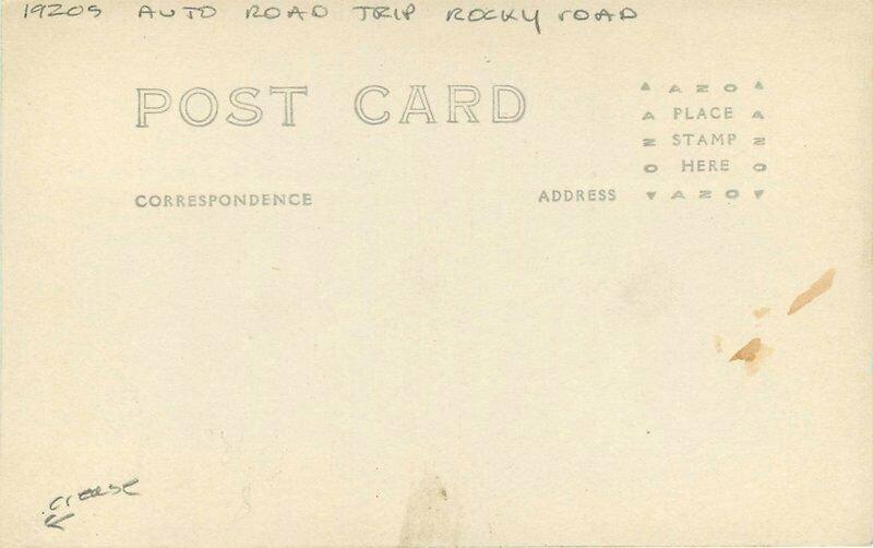 Automobile Road Trip Rocky Road 1920s RPPC Photo Postcard 12682