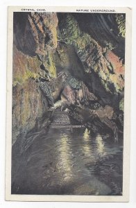 Kutztown PA Crystal Cave Steps to Underground Stream in Cavern Vntg Postcard