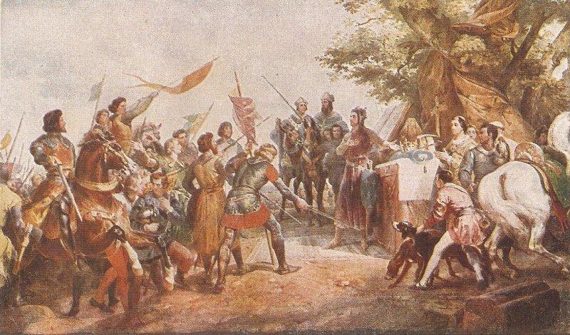 Bataille de Bouvines. Horses  Old vintage French postcard