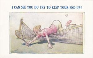 Tennis Humour I Can See You Do Try To Keep Your End Up Bamforth Tennis Comic