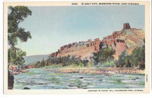 WY Shoshone River Holy City Cody Highway Vtg Haynes Postcard