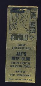 West Bridgewater, Massachusetts/Mass/MA Matchcover, Jay's Nite Club, Girlie