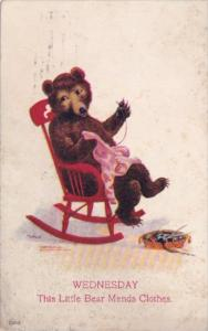 Bears Wednesday This Little Bear Mends Clothes 1908 Signed Wall