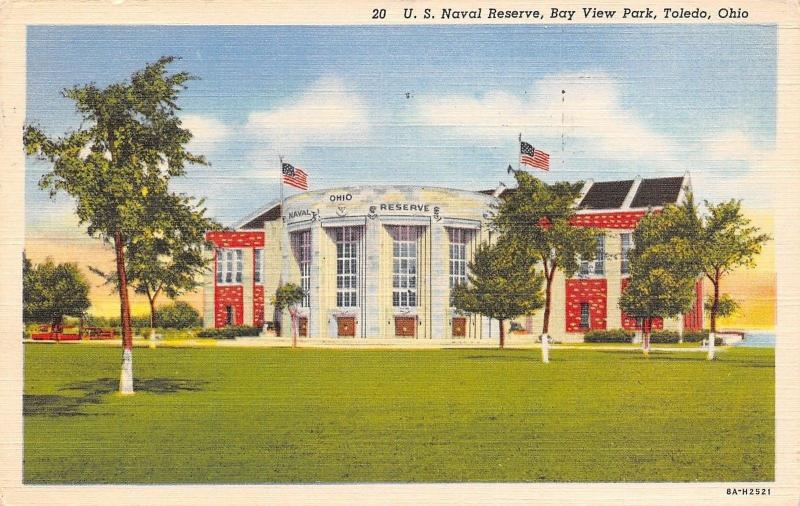 Toledo Ohio~Bay View Park~US Naval Reserve~1938 Linen Postcard