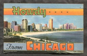 5240 - Howdy from CHICAGO 1940s Linen Postcard