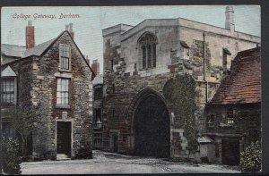 Durham Postcard - College Gateway, Durham   U1316