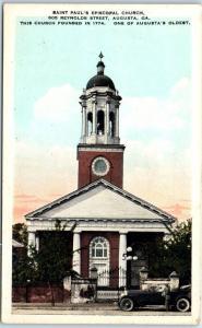 Augusta, Georgia Postcard Saint Paul's Episcopal Church Reynolds Street c1920s