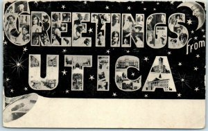 Vintage 1900s GREETINGS FROM UTICA New York Large Letter Postcard Multi-View