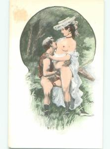foreign c1910 Risque NUDE FRENCH WOMAN HAVING SEX IN THE WOODS AB7319