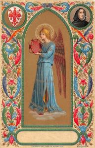 Angelo del Beato Angelico, Angel, Tambourine, Embossed Illustration