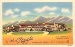 Colorful Linen Roadside Postcard Hotel El Rancho Gallup NM Route 66 unposted