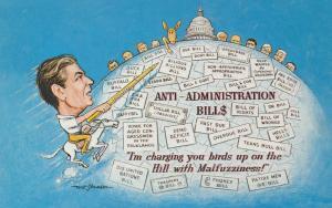 Washington, D.C., 50-60s ; Ronald Reagon , Anti-Administration Bill$