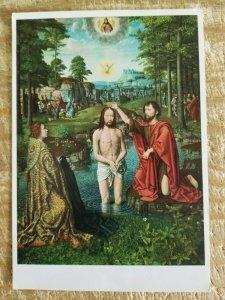CHRIST'S BAPTISM BY GERARD DAVID.VTG UNUSED ART POSTCARD*P12