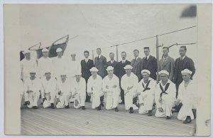 Old Real Photo Postcard U.S. Navy Sailors Sailing at Sea Seamen Aboard Ship