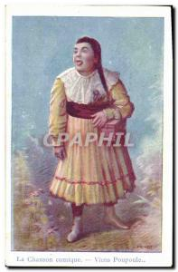 Old Postcard The comic song Come poupoule