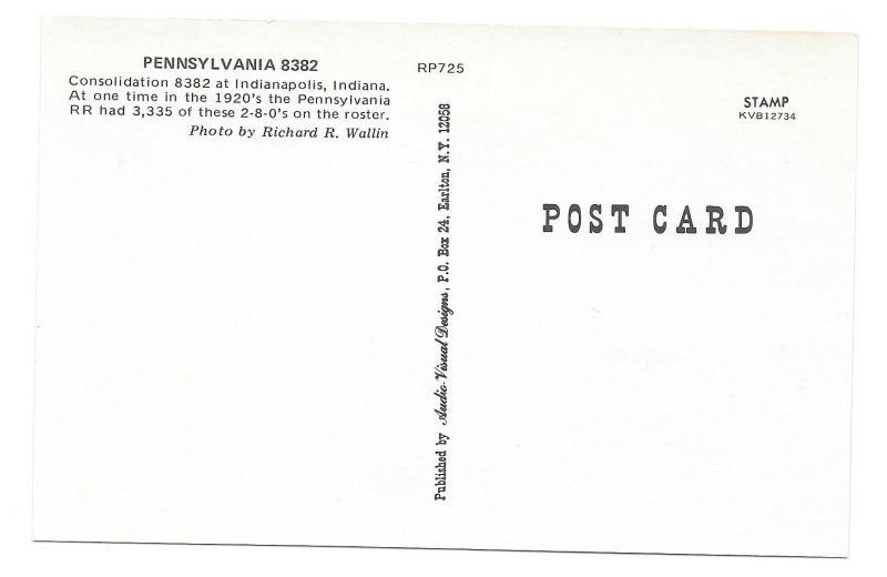 Pennsylvania Railroad Consolidation 2-8-0 Locomotive 8382