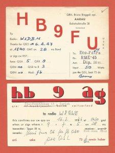 QSL VINTAGE AMATEUR RADIO CARDS – SWITZERLAND – 2 DIFFERENT – 1946/1947